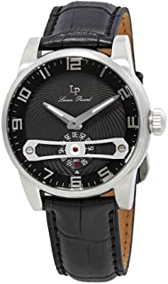 Lucien Piccard Men's 'Bosphorus' Quartz Stainless Steel and Leather  Watch, Color:Black (Model: LP-40046-01)