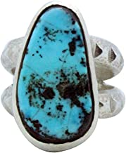 Monty Claw, Tufa Cast Ring, Morenci Turquoise, Silver, Navajo Handmade, 10