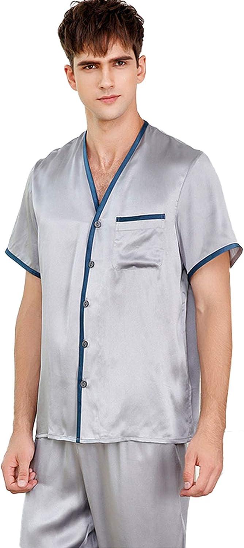 FMOGG Men's Pajama Set 100% Mulberry Silk Sleepwear Button Down Nightwear Short Sleeve Tops and Long Pants/Bottoms Classic Loungewear Set L
