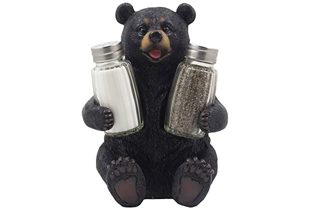 Decorative Black Bear Glass Salt And Pepper Shaker Set With Holder Figurine Sculpture For Rustic Lodge Cabin Kitchen Table Decor Centerpieces Spice
