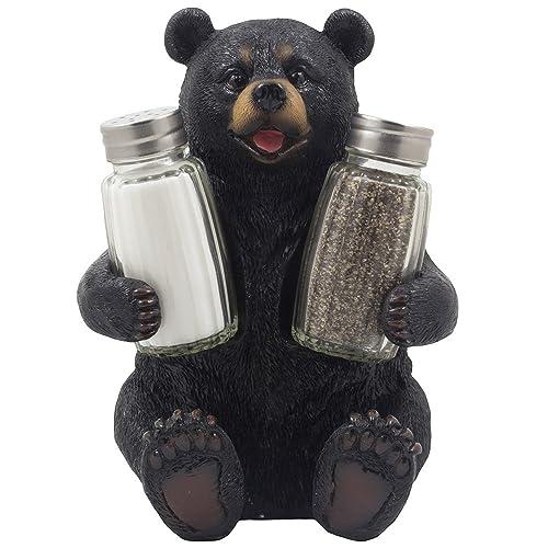 Decorative Black Bear Glass Salt And Pepper Shaker Set With Holder Figurine Sculpture For Rustic Lodge