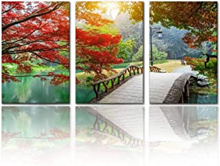 SALIZEN Beautiful Maple Leaves and Small Bridge in The Chinese Garden 3 Pieces Wall Art Paintings Perfect Canvas Art Vivid Color Modern Style Home Living Room Bedroom Hotel Decoration Gift