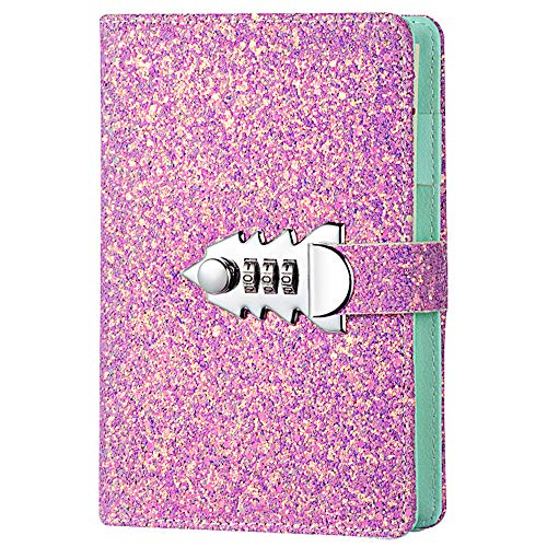 JunShop A6 Refillable PU Leather Locking Journal Password Diary with Lock Combination Locking Diary Locked Journal Purple
