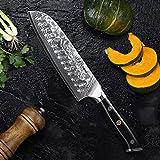 TURWHO Santoku Messer Damast,extra Scharfes Klingenblattö 18cm aus Profi Küchenmesser Damastmesser,Japanisches kochmesser, Japanisches VG-10 & ergonomischer G10 Griff - 3