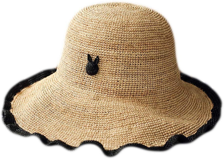 Lafite HandWoven Beach Hat, Travel WideBrimmed Sun Hat, Lafite Hat, Summer Sun Hat, Casual Holiday Hat, Adjustable Pink, Beige (color   Pink)