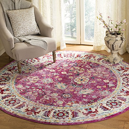 Safavieh Savannah Collection Premium Wool Round Area Rug, 7', Violet/Grey