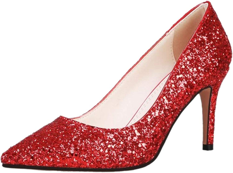 KemeKiss Women Pointed Toe Pumps Glitter