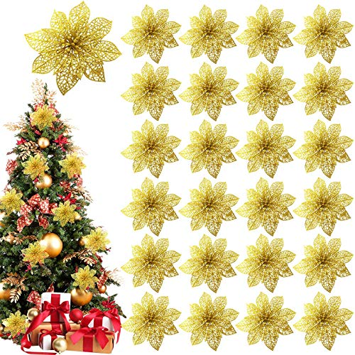 TURNMEON 24 Pack 6 Inch Christmas Glitter Poinsettia Artificial Silk Flowers Picks Christmas Tree Ornaments for Gold Christmas Tree Wreaths Garland Holiday Decoration