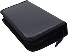 Grosun Black PU Leather CD DVD Storage Cases Portable Wallet Bags Holder for 80 Discs Capacity