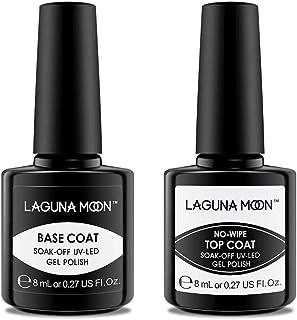 Lagunamoon Esmaltes de Uñas Top Coat y Base Coat 2pcs Kit de Esmaltes Semipermanentes para Uñas Esmaltes de Gel Uñas UV ...