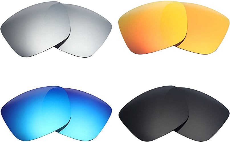 Mry 4paires polarisées Verres de rechange pour Spy Optic Balboa Sunglasses-stealth Noir rouge Feu ICE Bleu argent Titane