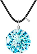 MANZHEN Women's Fashion Jewelry Dried Pressed Flower forget me not Charm Pendant Leather Cord Necklace