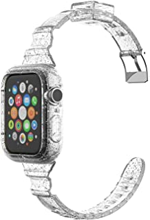 Glitter Transparent Silicone (42/44mm) Slim Clear Bling Watch Band With Protective Case For Apple Watch Series 6 5 4 SE