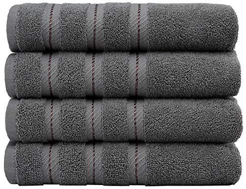 American Soft Linen Luxury Hotel & Spa Quality, Cotton, 16x28 Inches 4-Piece Turkish Hand Towel Set for Maximum Softness & Absorbency, Dry Quickly, Grey