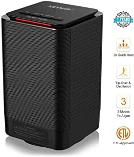 KEYNICE Electric Space Heater 950/450W 5-inch Portable Ceramic Personal Oscillating Small Room Heater Indoor RadiatorTable Mini Heater for Home Office Floor Desk Bathroom