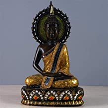 PPCP Thai Style Sitting Buddha Ornaments Hand-Carved Feng Shui Statue Crafts Home Decoration 25 × 16.5 × 41cm