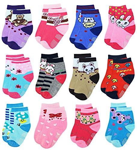 Deluxe Non Skid,Anti Slip,Slipper Ankle Socks For Baby,Toddler,Kids,Little,Boys,Girls (Shoe size:7.5-11, 12 Pack/Assorted)
