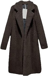 neveraway Women's Warm Fall Winter Faux Fur Turn-Down Collar Midi Top Coat
