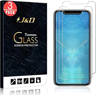 J&D Compatible for 3-Pack iPhone Xs Max Glass Screen Protector, [Tempered Glass] [Not Full Coverage] HD Clear Ballistic Gl...
