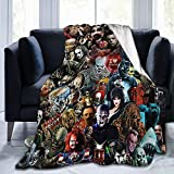 JAPYZEY Horror Scared Movie Characters Blanket Flannel Fleece Throw Anime Blanket Plush Lightweight Halloween Decoration Luxury Cozy Microfiber Blanket for Bed/Sofa/Chair 50'x40'