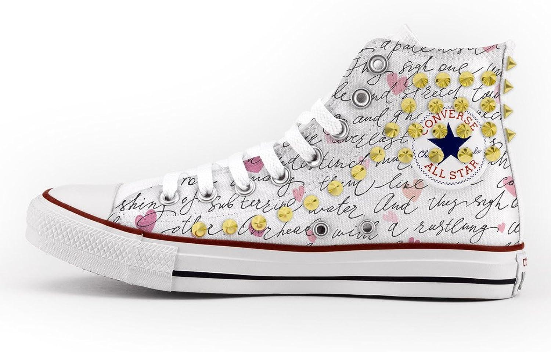 Converse Benutzerdefinierte mit Nieten Gold–Schuhe Handgefertigt–Buchstabe Liebe