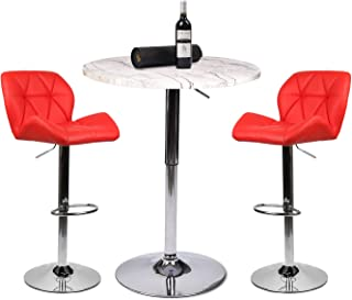 YOURLITEAMZ Bar Table Set of 3 – Adjustable Round Table and 2 Swivel Pub Stools for Home Kitchen Bistro, Bars Wine Cabinets (Set 8.1.1)