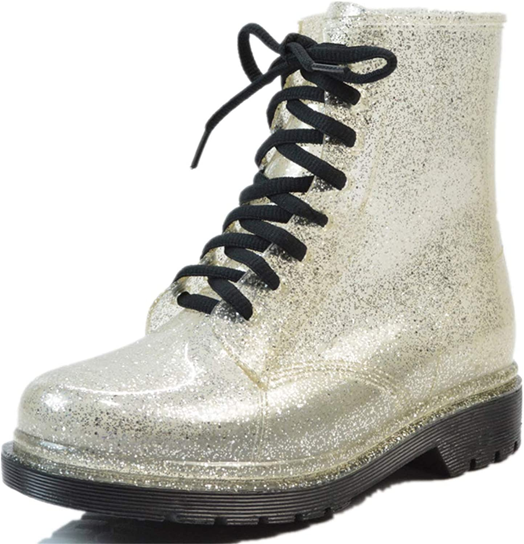 Super color Women's Waterproof Rain Boots Lace up Fashion Non-Slip Sequin Snow shoes Garden Booties Water shoes