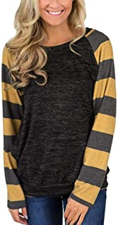 HAPPIShare Women's Color Block Plaid Shirt Cotton Knitted Long Sleeve Lightweight Tunic Sweatshirt Tops