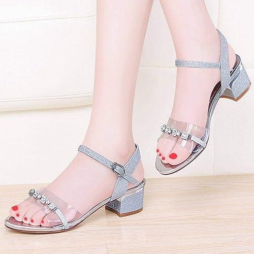LTN Ltd - sandals Mot avec des Sandales Sandales Transparentes Femme épaisse avec des Chaussures de Femmes Populaires Wenzhou Chaussures de L'été de Fée Vent, Argent, 38  100% garantie de prix