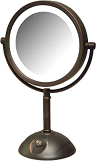Jerdon HL8808BZL 8X Magnification LED Lighted Table Top Mirror, Bronze, Finish
