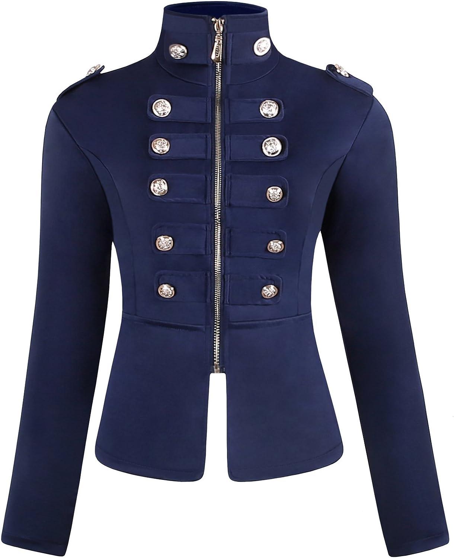 JOKHOO Women's Zip Front Stand Collar Military Light Jacket