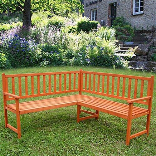 Melko Eckbank Gartenbank Sitzbank, aus Holz, 149 x 149 x 89 cm, braun, Parkbank Sitzgarnitur