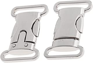 Baoblaze 2 Pieces Stainless Steel Side Release Buckle for Paracord Bracelet Dog Collar Bag Clasp Silver - 25mm