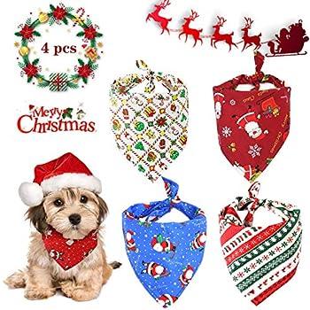 WELLXUNK® Bandana pour Chien, 4 pcs écharpe de Père Noël Chien, Foulard pour Chien, pour Petits Chiens et Chats de Taille Moyenne et Grande pour Accessoires de Costume d'Animal (M1)