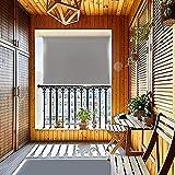 HENGMEI 100X140cm Balkon Sichtschutz Sonnenschutz Sichtschutzrollo Senkrechtmarkise Wasserdicht Windschutz vertikal Sonnensegel für Balkon Terrasse, Grau