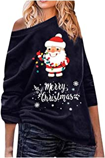 2019 Christmas Women's Off Shoulder Shirt Loose Casual Tops Oversized Sweater E-Scenery