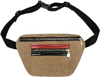 Great Texture Waist Bag Style Women Girl Hit Colour Zipper Corduroy Messenger Tote Chest Bags Waist Totes Bolsa Cintura