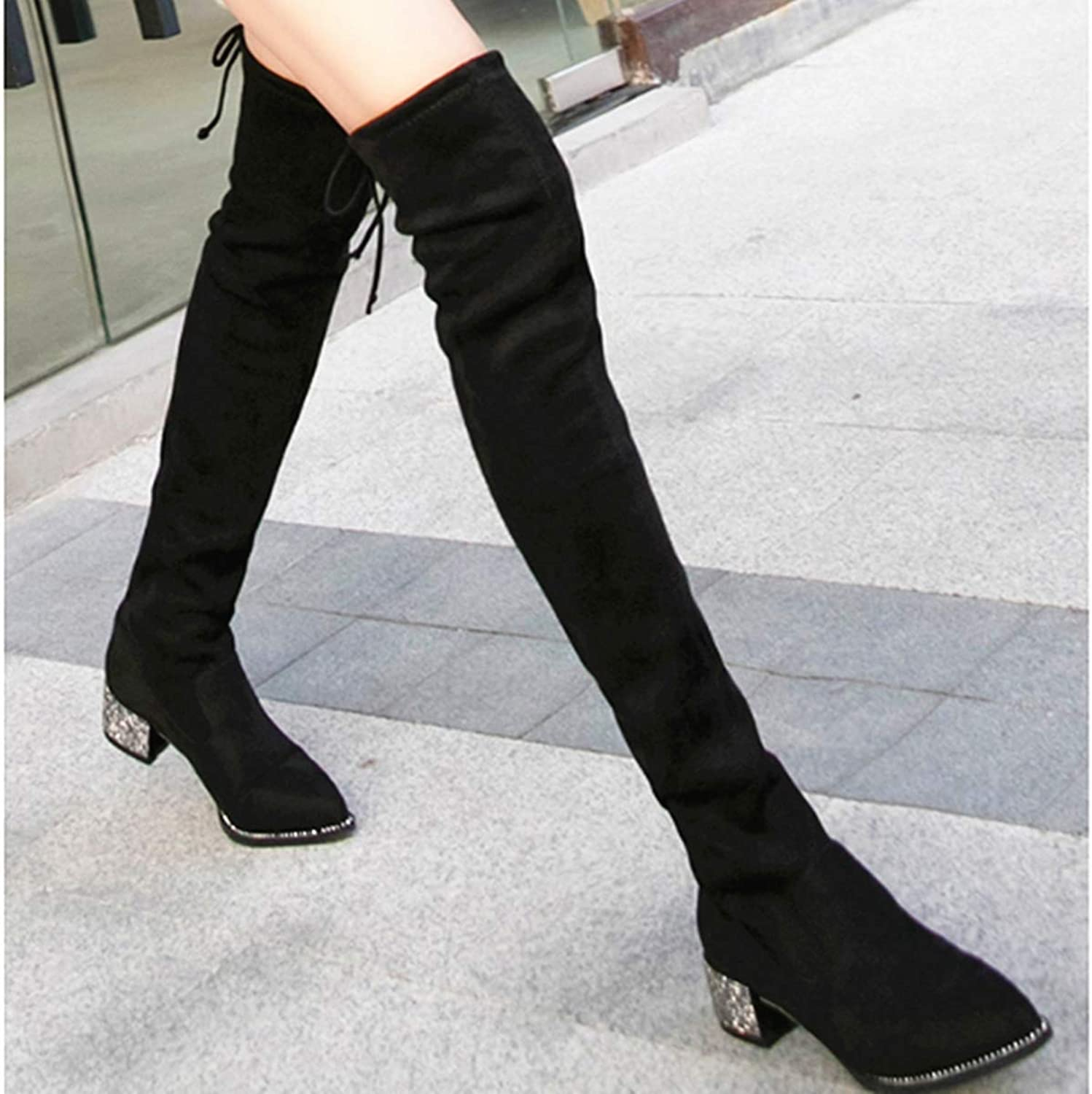 FAQIAN Strap Stretch Over The Knee Boots Pointed Sexy Rhinestone Thick with Long Tube high Boots
