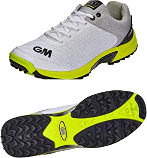 GM Cricket Shoes : All Rounder with Rubber Studs (Color - White) 2018 Edition