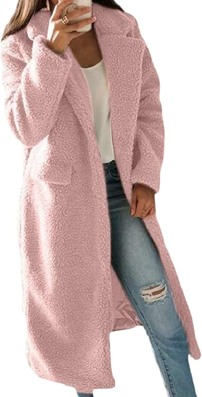 SmeilingCA Womens Simple Open Front Lapel Cardigan Fleece Jacket Coat Outwear