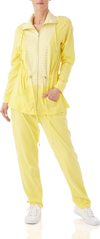 AmeriMark Women's Multi Stripe Casual Pants Set – Anorak Jacket and Sweatpants