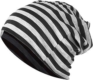 AkoMatial Cotton Beanie Cap Leisure Striped Elastic Baggy Hat Sports Head Wrap Warm Unisex Cap for Men Women Black