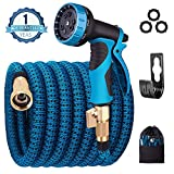 monyar Garden Hose Expandable Water Hose,Extra Strenght/No-Kink Lightweight/Durable/Flexible/9 Function Spray Hose Nozzle 3/4 Solid Brass Connectors Garden Hose for Watering/Washing(25ft+5ft)