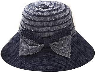 UPF 50+ Floppy Sun Hat w/Large Canvas Bow, Adjustable Size Large Summer Beach Hat