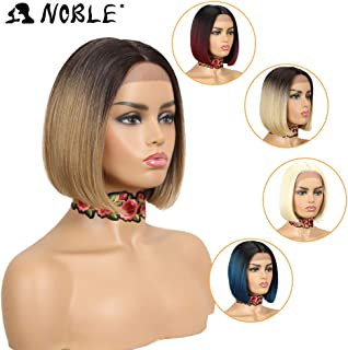 Lace Front Wigs for Black Women NOBLE Colorful Ombre Wig BOB Wigs Glueless Synthetic Hair Replacement Wigs(10inches, TT6/23C)