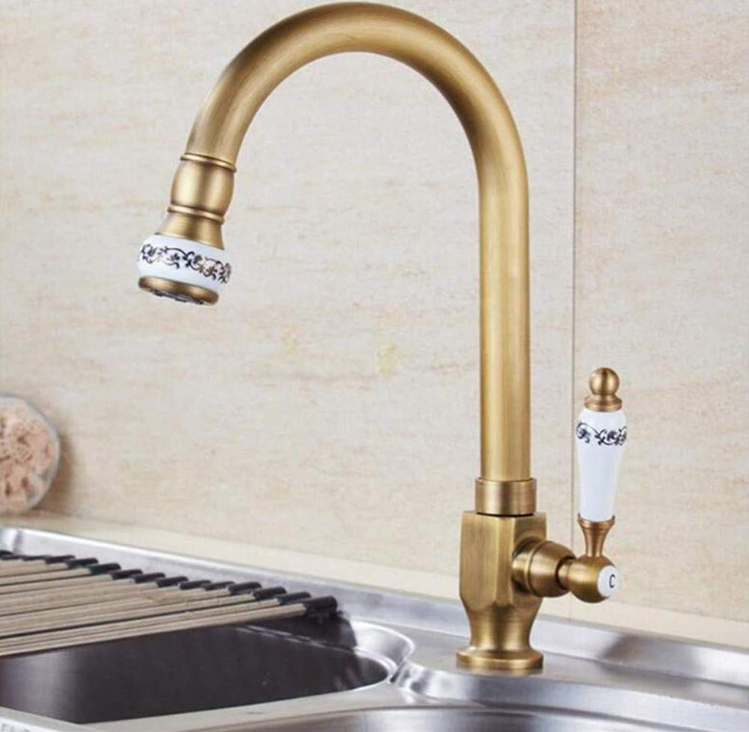 Brass Chrome Hot and Cold Water Brass Ceramic Kitchen Faucet Single Cold Water Faucet Deck Mounted Swivel Sink Tap