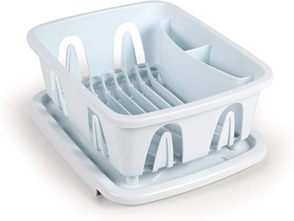 Camco Durable Mini Dish Drainer Rack And Tray Perfect For RV Sinks Marine Sinks And Compact Kitchen Sinks White 43511