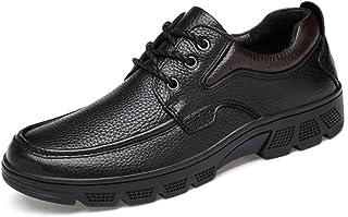 Sygjal Men's Fashion Oxford Casual Soft Aseismatic Light Belt Outsole Formal Shoes Semi (Color : Brown, Size : 49 EU)