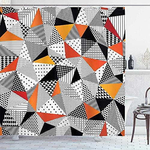 FANCYDAY Abstract douchegordijn, contrasterende kleuren in veelhoekige kunstwerkstijl met pannen ambachtelijke projecten, doek wit oranje