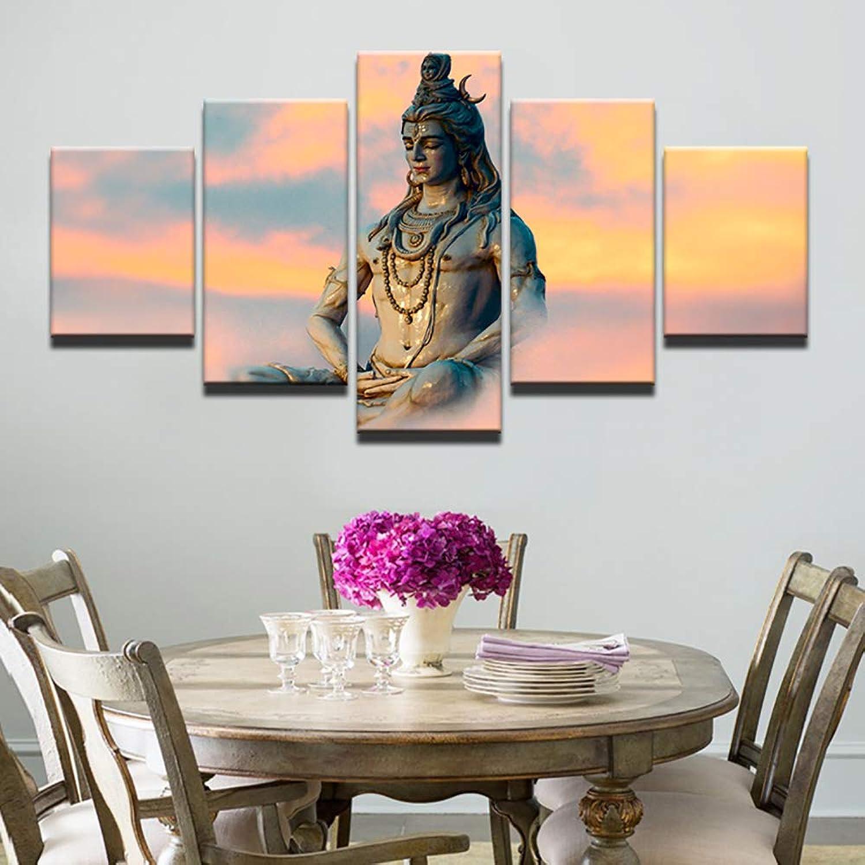 JSBVM Modern Modern Modern Wandkunst Bilder Segeltuch HD gedruckt Malerei 5 Stück Großer Indien-Gottheiten-Gott Siva Poster Wohnkultur Für Wohnzimmer B07NR9HXNH ea1358